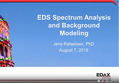 "Watch Dr. Jens Rafaelsen's presentation from M&M 2019 ""EDS Spectrum Analysis and Background Modeling"""